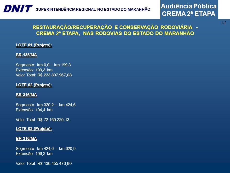 Audiência Pública CREMA 2ª ETAPA DNIT SUPERINTENDÊNCIA REGIONAL NO ESTADO DO MARANHÃO LOTE 01 (Projeto): BR-135/MA Segmento: km 0,0 – km 199,3 Extensã