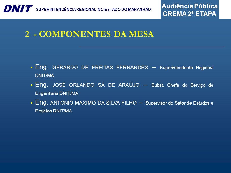 Audiência Pública CREMA 2ª ETAPA DNIT SUPERINTENDÊNCIA REGIONAL NO ESTADO DO MARANHÃO Eng. GERARDO DE FREITAS FERNANDES – Superintendente Regional DNI