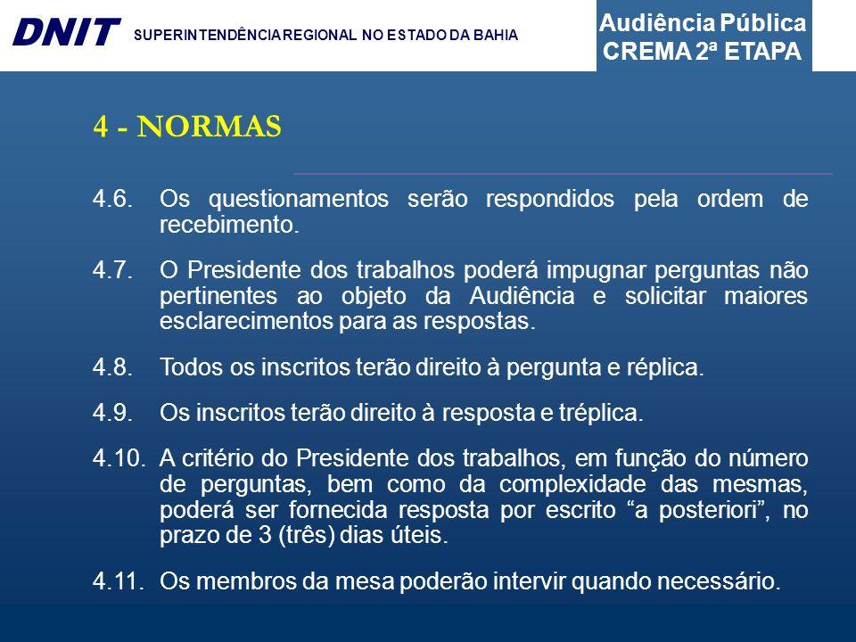 Audiência Pública CREMA 2ª ETAPA DNIT SUPERINTENDÊNCIA REGIONAL NO ESTADO DA BAHIA 4.6.Os questionamentos serão respondidos pela ordem de recebimento.