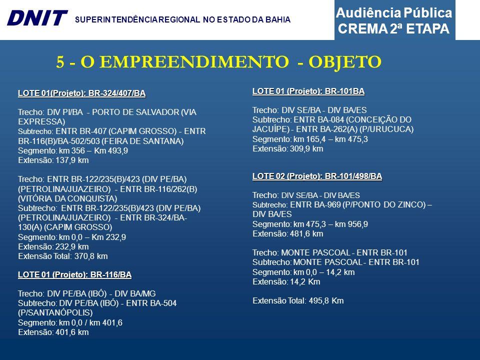 Audiência Pública CREMA 2ª ETAPA DNIT SUPERINTENDÊNCIA REGIONAL NO ESTADO DA BAHIA 5 - O EMPREENDIMENTO - OBJETO LOTE 01(Projeto): BR-324/407/BA Trech