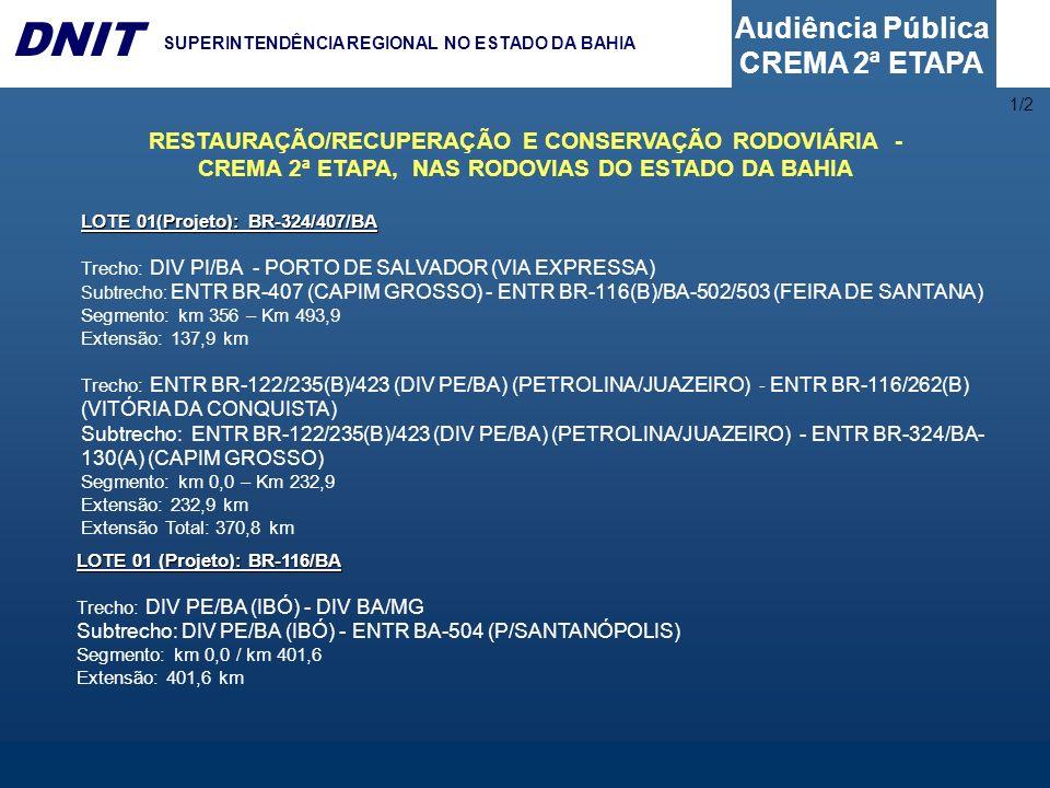 Audiência Pública CREMA 2ª ETAPA DNIT SUPERINTENDÊNCIA REGIONAL NO ESTADO DA BAHIA LOTE 01(Projeto): BR-324/407/BA Trecho: DIV PI/BA - PORTO DE SALVAD