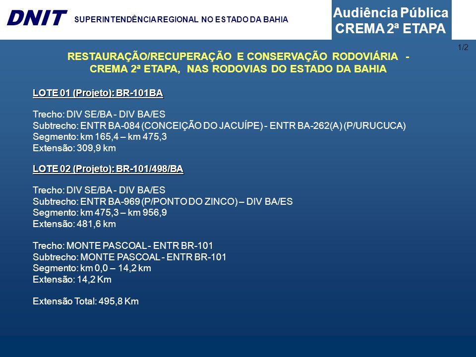 Audiência Pública CREMA 2ª ETAPA DNIT SUPERINTENDÊNCIA REGIONAL NO ESTADO DA BAHIA LOTE 01 (Projeto): BR-101BA Trecho: DIV SE/BA - DIV BA/ES Subtrecho