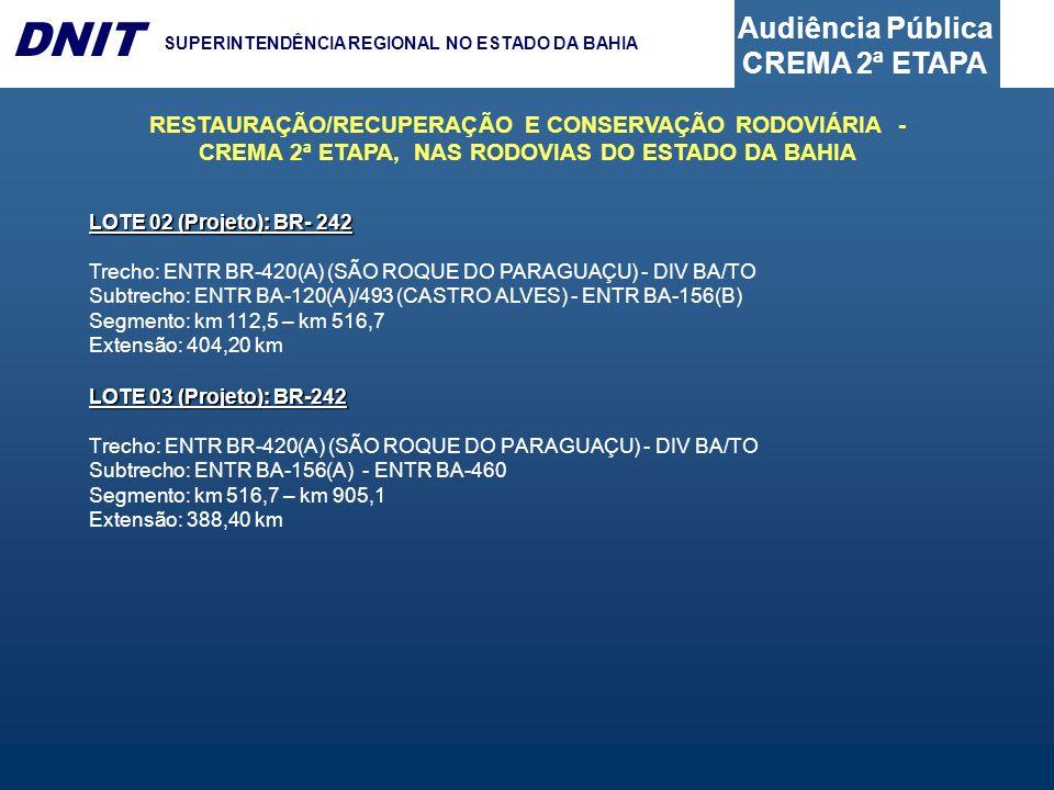 Audiência Pública CREMA 2ª ETAPA DNIT SUPERINTENDÊNCIA REGIONAL NO ESTADO DA BAHIA LOTE 03 (Projeto): BR-242 Trecho: ENTR BR-420(A) (SÃO ROQUE DO PARA