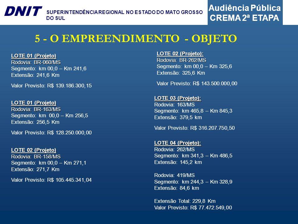 Audiência Pública CREMA 2ª ETAPA DNIT SUPERINTENDÊNCIA REGIONAL NO ESTADO DO MATO GROSSO DO SUL 5 - O EMPREENDIMENTO - OBJETO LOTE 01 (Projeto) Rodovi