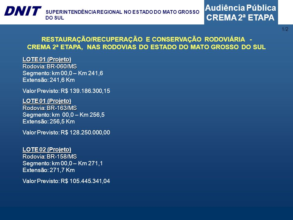 Audiência Pública CREMA 2ª ETAPA DNIT SUPERINTENDÊNCIA REGIONAL NO ESTADO DO MATO GROSSO DO SUL LOTE 01 (Projeto) Rodovia: BR-060/MS Segmento: km 00,0