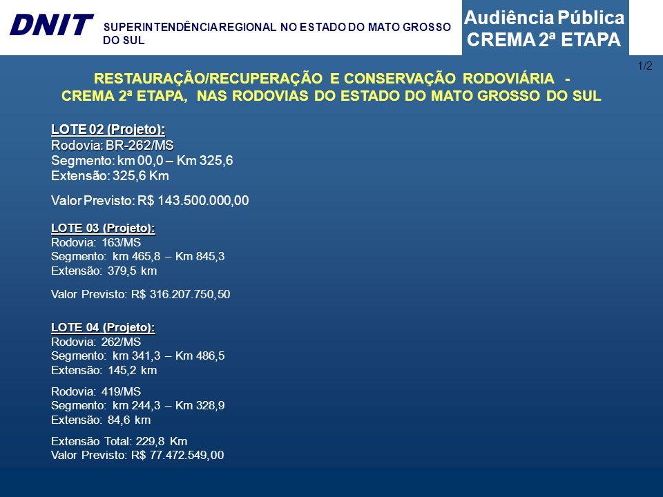 Audiência Pública CREMA 2ª ETAPA DNIT SUPERINTENDÊNCIA REGIONAL NO ESTADO DO MATO GROSSO DO SUL 1/2 RESTAURAÇÃO/RECUPERAÇÃO E CONSERVAÇÃO RODOVIÁRIA -