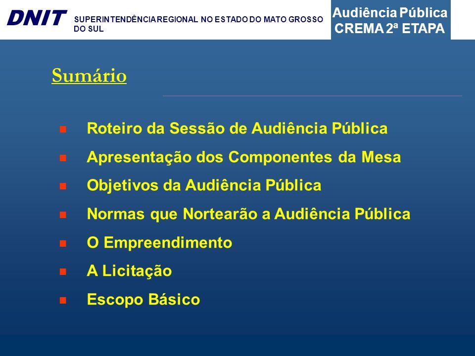 Audiência Pública CREMA 2ª ETAPA DNIT SUPERINTENDÊNCIA REGIONAL NO ESTADO DO MATO GROSSO DO SUL Sumário Roteiro da Sessão de Audiência Pública Apresen