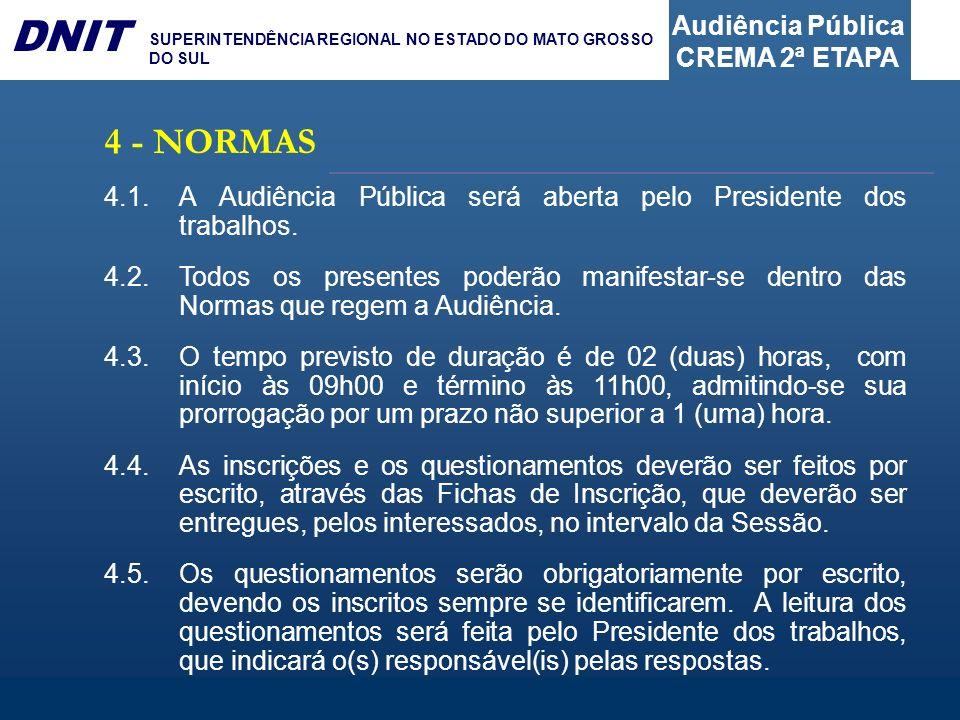 Audiência Pública CREMA 2ª ETAPA DNIT SUPERINTENDÊNCIA REGIONAL NO ESTADO DO MATO GROSSO DO SUL 4 - NORMAS 4.1.A Audiência Pública será aberta pelo Pr