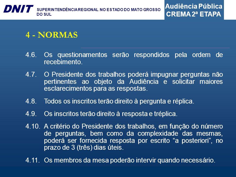 Audiência Pública CREMA 2ª ETAPA DNIT SUPERINTENDÊNCIA REGIONAL NO ESTADO DO MATO GROSSO DO SUL 4.6.Os questionamentos serão respondidos pela ordem de
