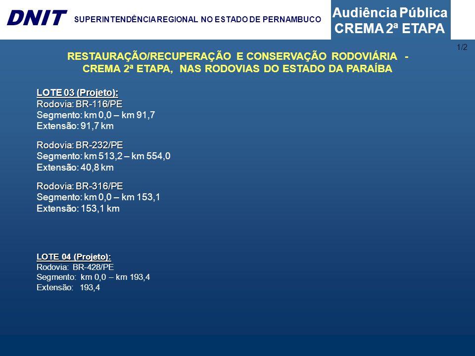 Audiência Pública CREMA 2ª ETAPA DNIT SUPERINTENDÊNCIA REGIONAL NO ESTADO DE PERNAMBUCO 6 – A LICITAÇÃO A licitação será regida pela Lei 8.666 de 21 de junho de 1993 e suas modificações posteriores.
