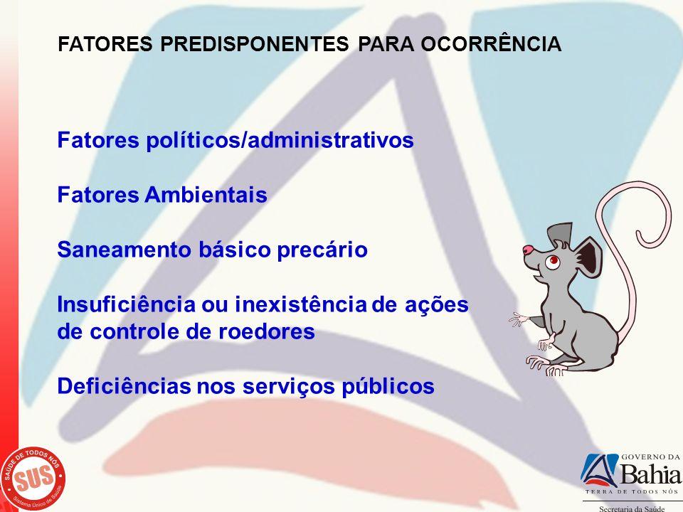 FATORES PREDISPONENTES PARA OCORRÊNCIA Fatores políticos/administrativos Fatores Ambientais Saneamento básico precário Insuficiência ou inexistência d