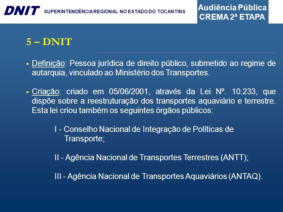 Audiência Pública CREMA 2ª ETAPA DNIT SUPERINTENDÊNCIA REGIONAL NO ESTADO DO TOCANTINS 5 – DNIT Definição: Pessoa jurídica de direito público, submeti