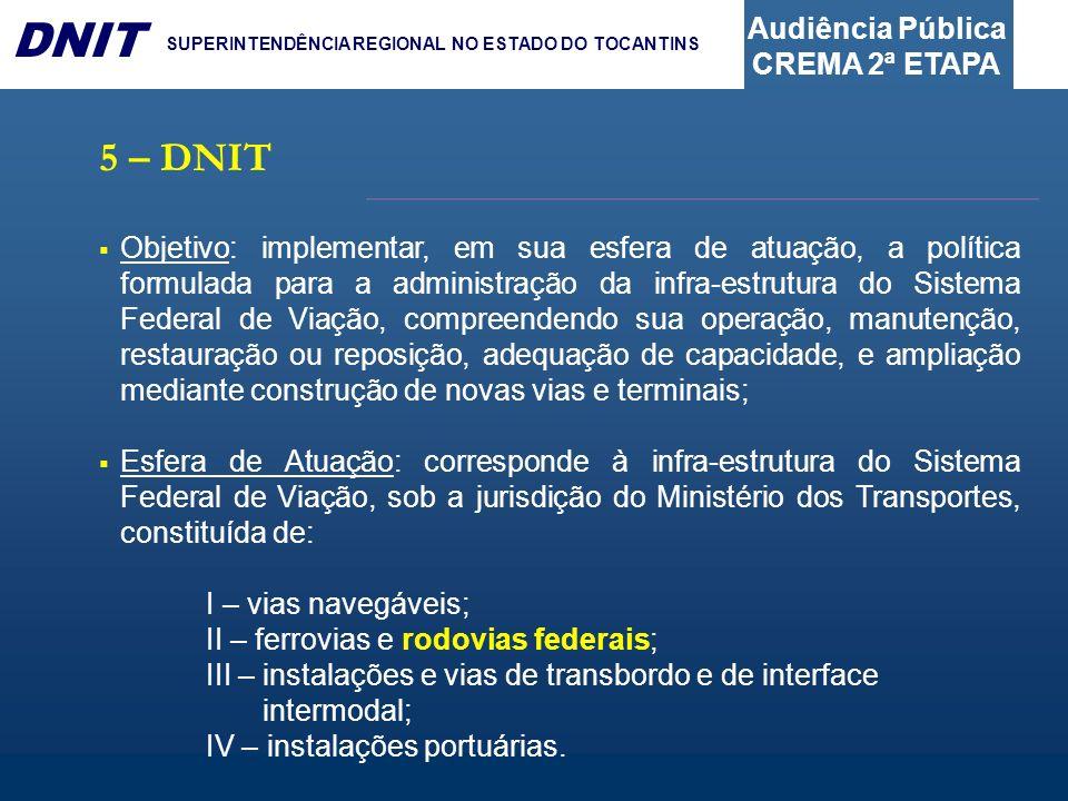 Audiência Pública CREMA 2ª ETAPA DNIT SUPERINTENDÊNCIA REGIONAL NO ESTADO DO TOCANTINS Objetivo: implementar, em sua esfera de atuação, a política for
