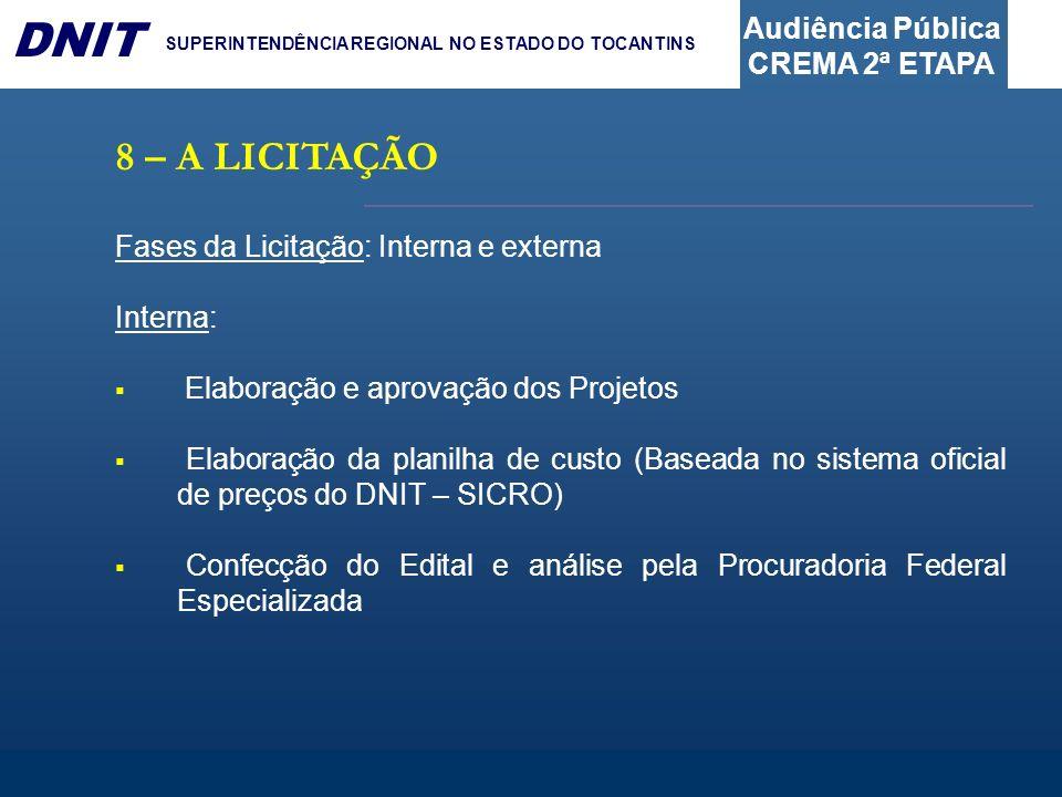 Audiência Pública CREMA 2ª ETAPA DNIT SUPERINTENDÊNCIA REGIONAL NO ESTADO DO TOCANTINS 8 – A LICITAÇÃO Fases da Licitação: Interna e externa Interna: