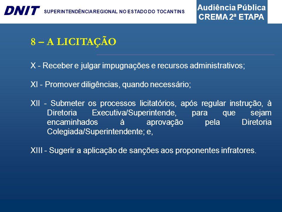 Audiência Pública CREMA 2ª ETAPA DNIT SUPERINTENDÊNCIA REGIONAL NO ESTADO DO TOCANTINS 8 – A LICITAÇÃO X - Receber e julgar impugnações e recursos adm