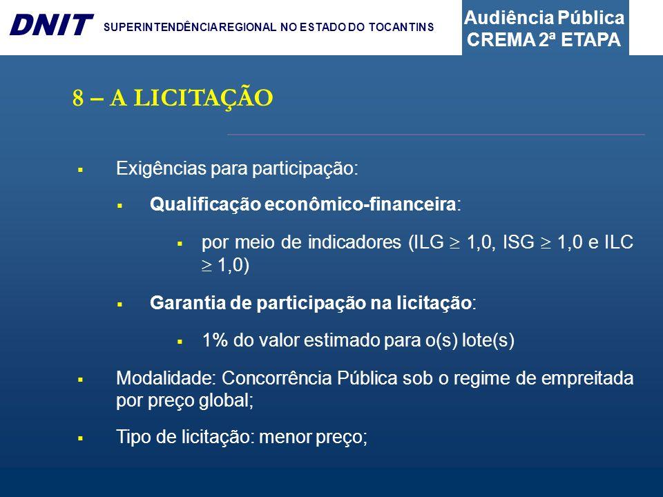 Audiência Pública CREMA 2ª ETAPA DNIT SUPERINTENDÊNCIA REGIONAL NO ESTADO DO TOCANTINS 8 – A LICITAÇÃO Exigências para participação: Qualificação econ