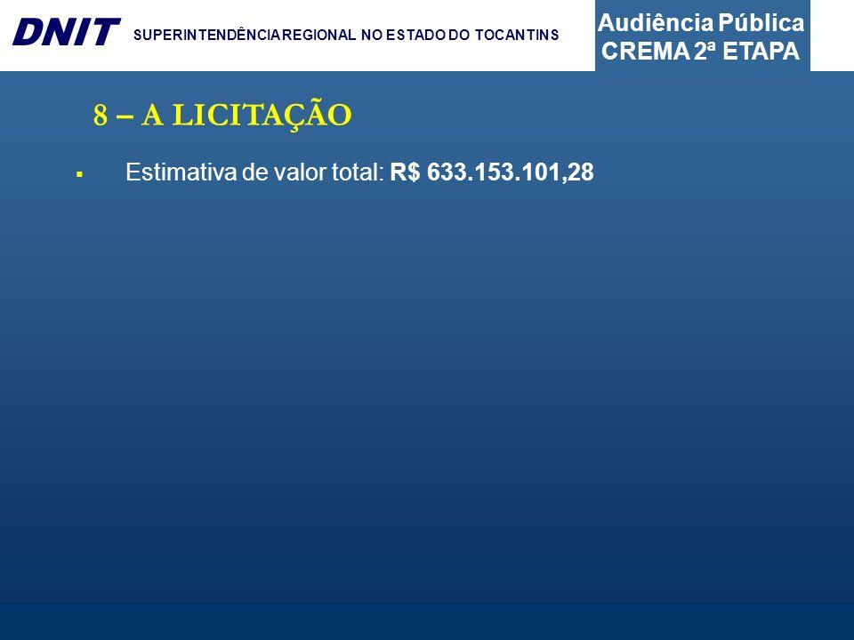 Audiência Pública CREMA 2ª ETAPA DNIT SUPERINTENDÊNCIA REGIONAL NO ESTADO DO TOCANTINS 8 – A LICITAÇÃO Estimativa de valor total: R$ 633.153.101,28