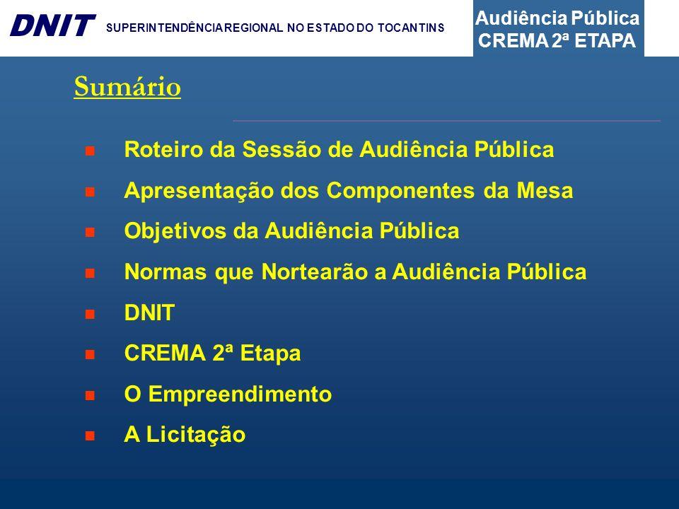 Audiência Pública CREMA 2ª ETAPA DNIT SUPERINTENDÊNCIA REGIONAL NO ESTADO DO TOCANTINS Sumário Roteiro da Sessão de Audiência Pública Apresentação dos