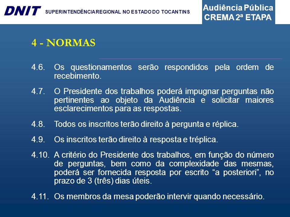 Audiência Pública CREMA 2ª ETAPA DNIT SUPERINTENDÊNCIA REGIONAL NO ESTADO DO TOCANTINS 4.6.Os questionamentos serão respondidos pela ordem de recebime