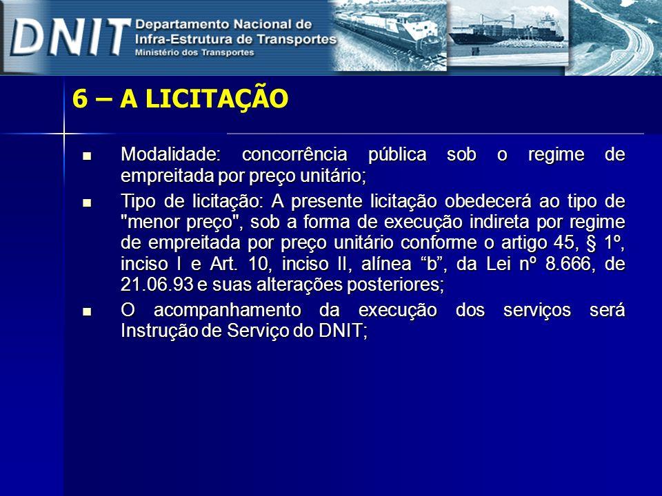 6 – A LICITAÇÃO Modalidade: concorrência pública sob o regime de empreitada por preço unitário; Modalidade: concorrência pública sob o regime de empre