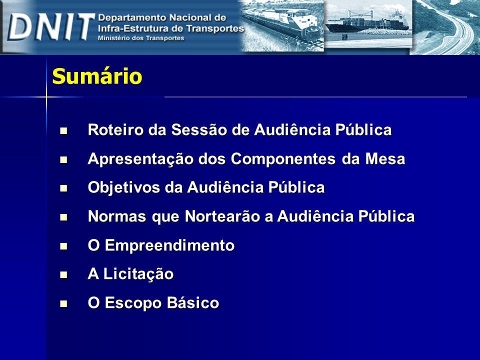 Sumário Roteiro da Sessão de Audiência Pública Roteiro da Sessão de Audiência Pública Apresentação dos Componentes da Mesa Apresentação dos Componente
