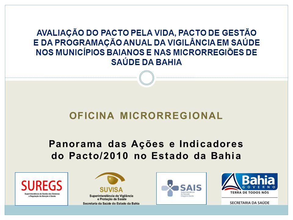 OFICINA MICRORREGIONAL Panorama das Ações e Indicadores do Pacto/2010 no Estado da Bahia AVALIAÇÃO DO PACTO PELA VIDA, PACTO DE GESTÃO E DA PROGRAMAÇÃ