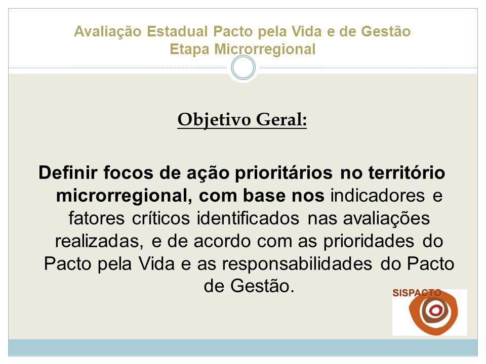 Avaliação Estadual Pacto pela Vida e de Gestão Etapa Microrregional Objetivo Geral: Definir focos de ação prioritários no território microrregional, c