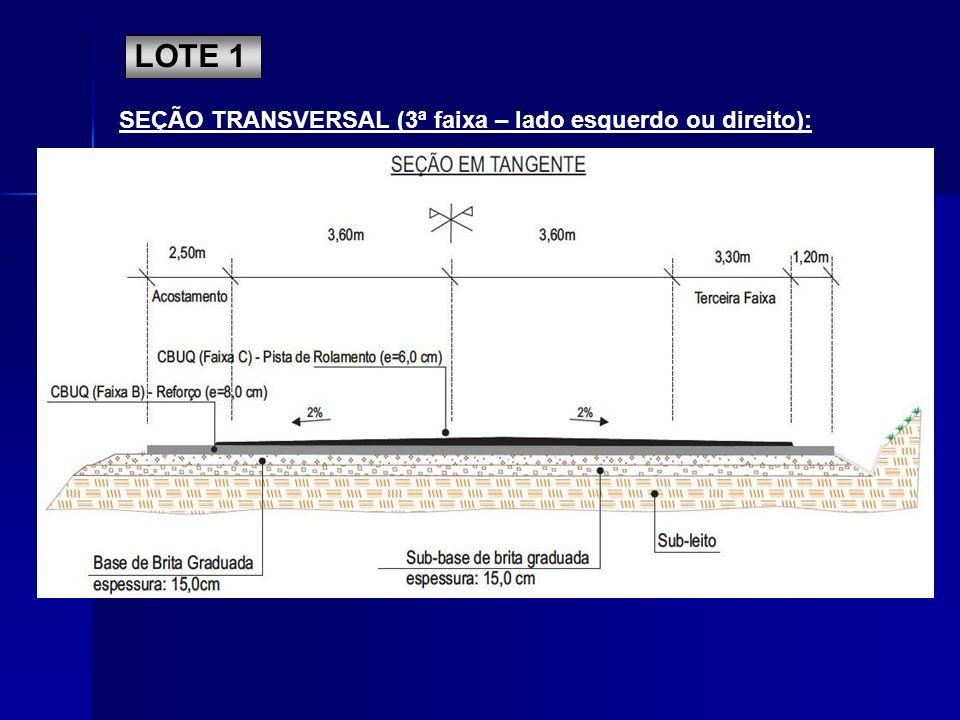 SEÇÃO TRANSVERSAL (3ª faixa – lado esquerdo ou direito): LOTE 1