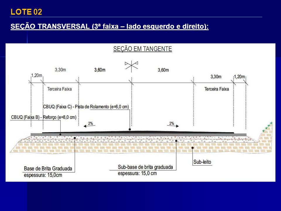 LOTE 02 SEÇÃO TRANSVERSAL (3ª faixa – lado esquerdo e direito):