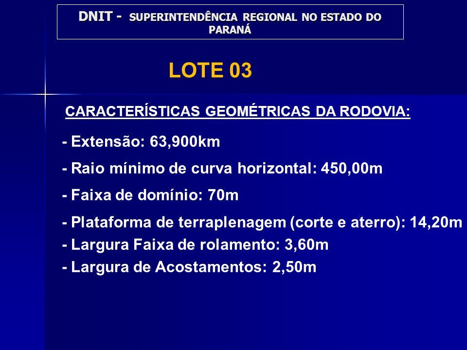 LOTE 03 CARACTERÍSTICAS GEOMÉTRICAS DA RODOVIA: - Extensão: 63,900km - Raio mínimo de curva horizontal: 450,00m - Faixa de domínio: 70m - Plataforma d