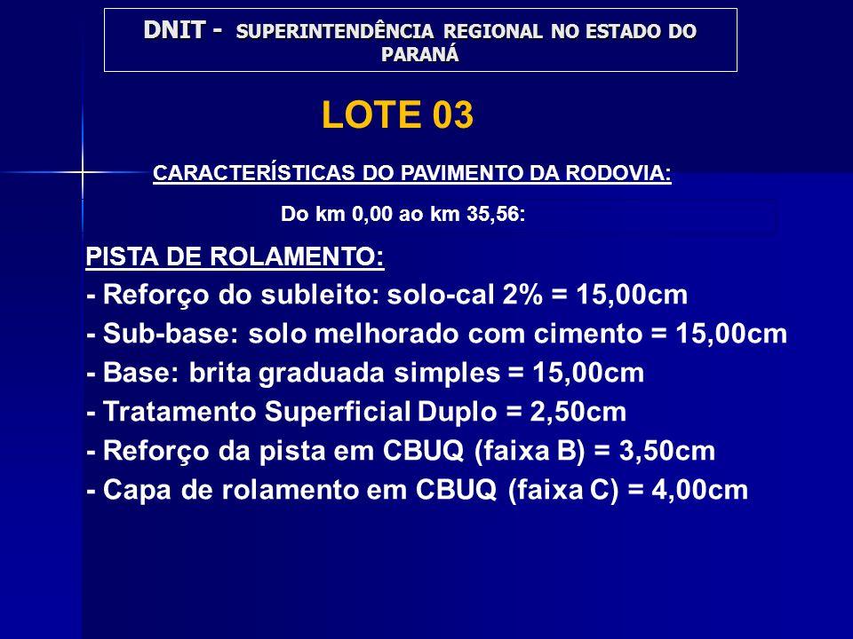 CARACTERÍSTICAS DO PAVIMENTO DA RODOVIA: PISTA DE ROLAMENTO: - Reforço do subleito: solo-cal 2% = 15,00cm - Sub-base: solo melhorado com cimento = 15,