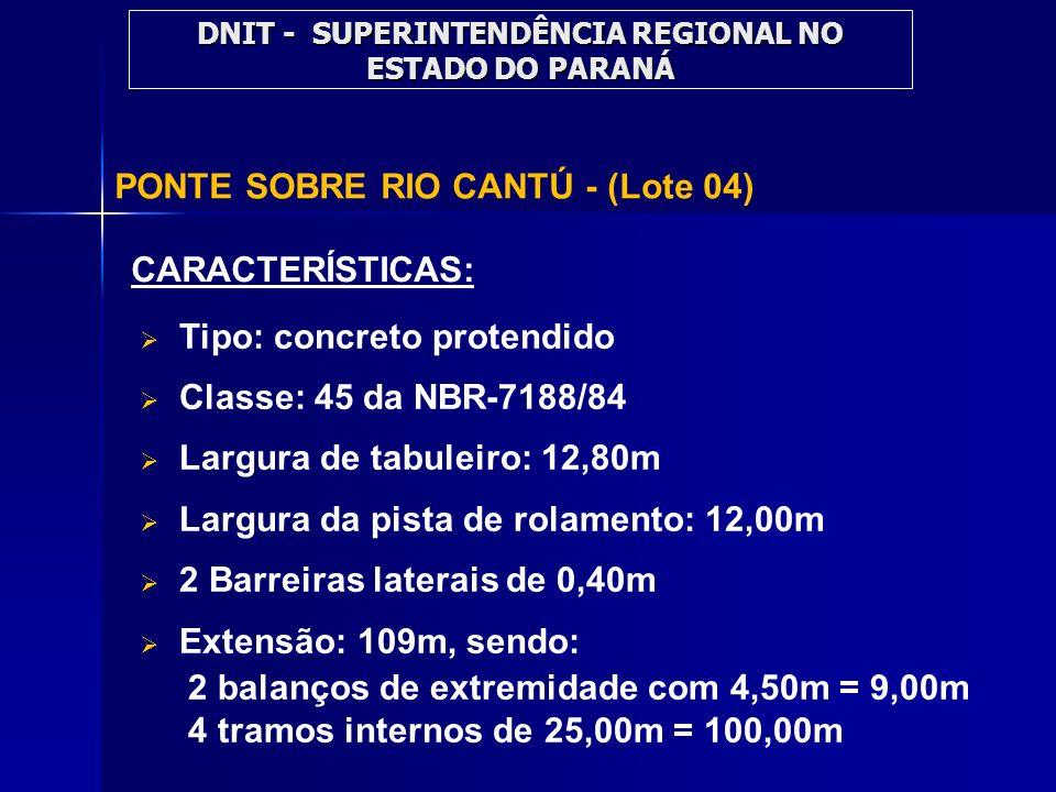 PONTE SOBRE RIO CANTÚ - (Lote 04) CARACTERÍSTICAS: Tipo: concreto protendido Classe: 45 da NBR-7188/84 Largura de tabuleiro: 12,80m Largura da pista d