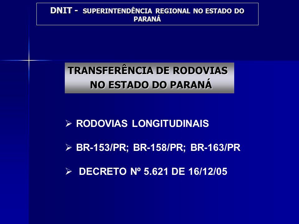 DNIT - SUPERINTENDÊNCIA REGIONAL NO ESTADO DO PARANÁ TRANSFERÊNCIA DE RODOVIAS NO ESTADO DO PARANÁ NO ESTADO DO PARANÁ RODOVIAS LONGITUDINAIS BR-153/P