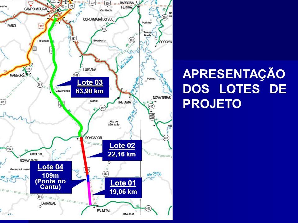 Lote 01 19,06 km Lote 04 109m (Ponte rio Cantu) Lote 02 22,16 km Lote 03 63,90 km APRESENTAÇÃO DOS LOTES DE PROJETO