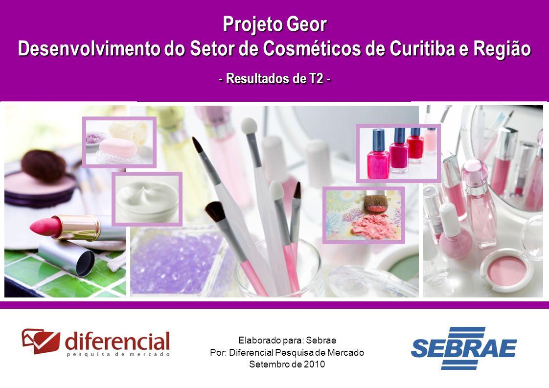 1 Elaborado para: Sebrae Por: Diferencial Pesquisa de Mercado Setembro de 2010 Projeto Geor Desenvolvimento do Setor de Cosméticos de Curitiba e Região - Resultados de T2 -