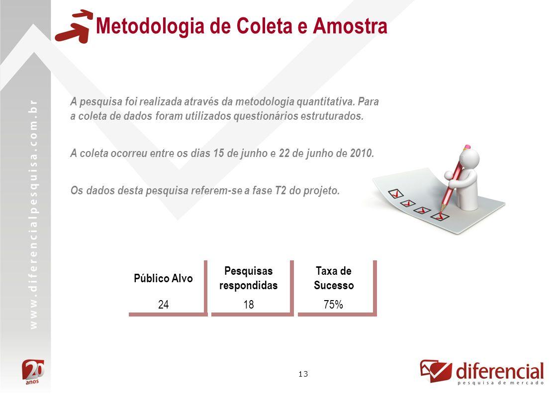 13 Metodologia de Coleta e Amostra Público Alvo Pesquisas respondidas Taxa de Sucesso 241875% A pesquisa foi realizada através da metodologia quantitativa.