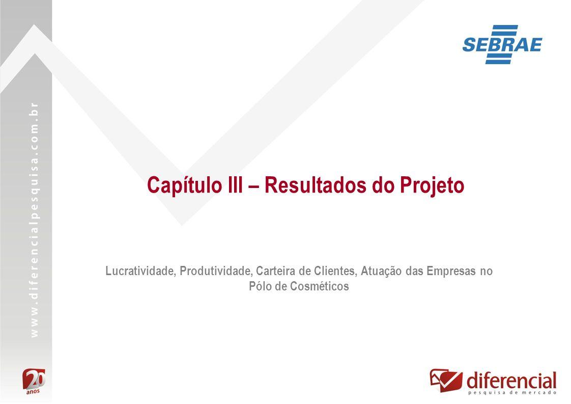 Capítulo III – Resultados do Projeto Lucratividade, Produtividade, Carteira de Clientes, Atuação das Empresas no Pólo de Cosméticos