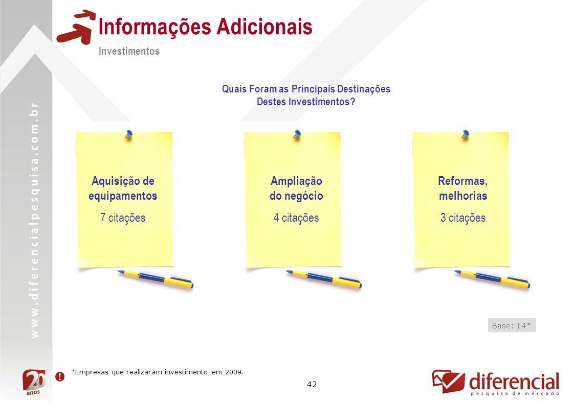 42 Informações Adicionais Quais Foram as Principais Destinações Destes Investimentos.