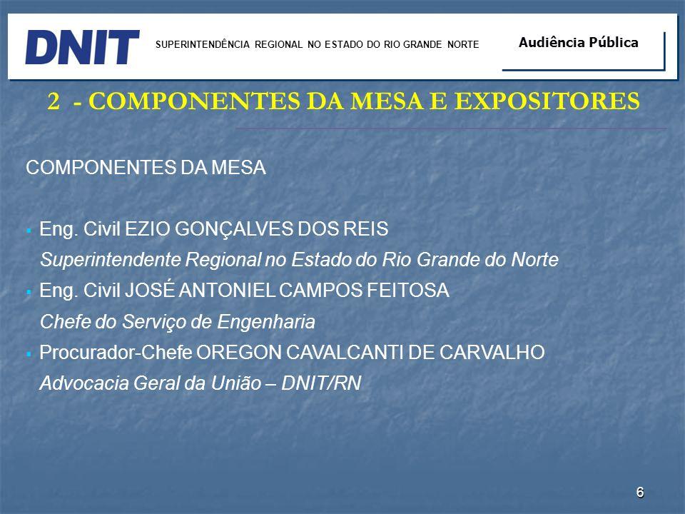 2- COMPONENTES DA MESA E EXPOSITORES COMPONENTES DA MESA Eng. Civil EZIO GONÇALVES DOS REIS Superintendente Regional no Estado do Rio Grande do Norte