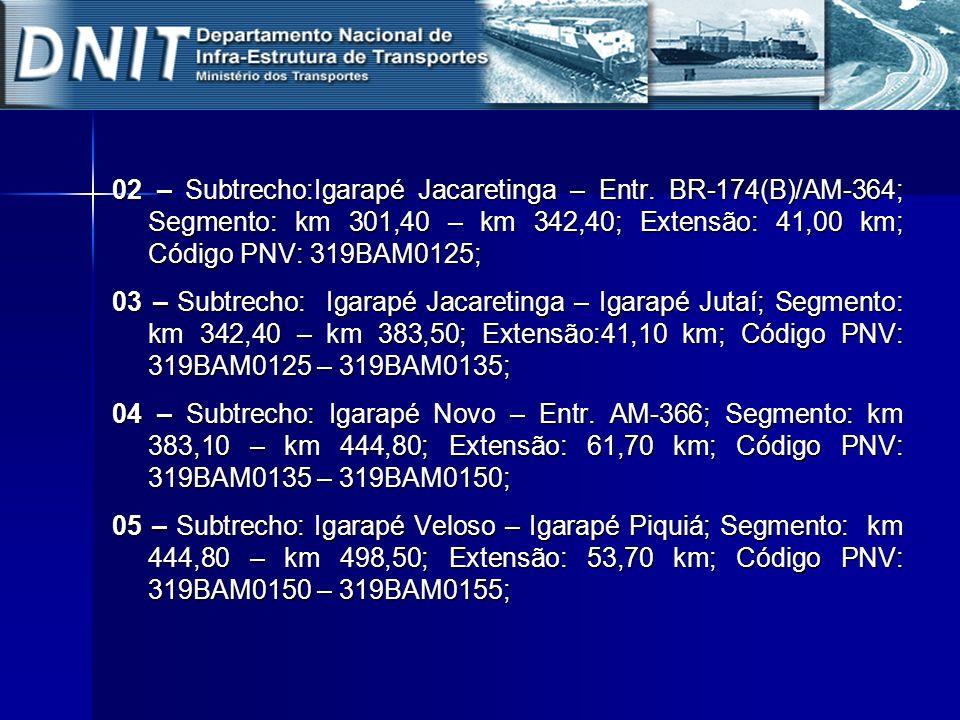 02 – Subtrecho:Igarapé Jacaretinga – Entr. BR-174(B)/AM-364; Segmento: km 301,40 – km 342,40; Extensão: 41,00 km; Código PNV: 319BAM0125; 03 – Subtrec