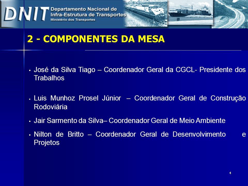 4 2- COMPONENTES DA MESA José da Silva Tiago – Coordenador Geral da CGCL- Presidente dos Trabalhos Luis Munhoz Prosel Júnior – Coordenador Geral de Co