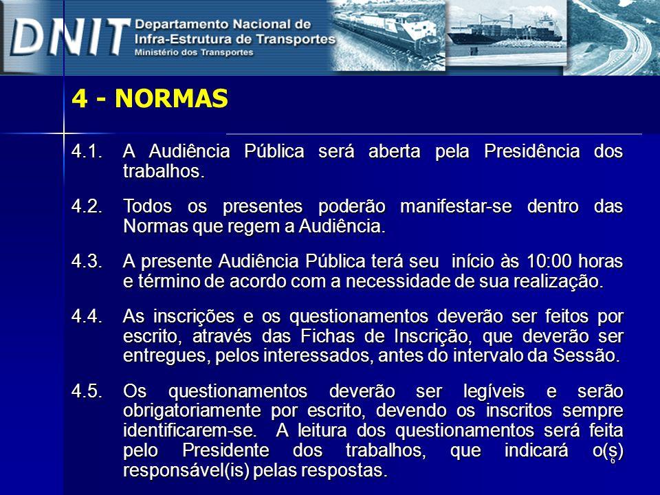 6 4 - NORMAS 4.1.A Audiência Pública será aberta pela Presidência dos trabalhos. 4.2. Todos os presentes poderão manifestar-se dentro das Normas que r