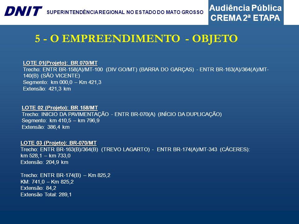 Audiência Pública CREMA 2ª ETAPA DNIT SUPERINTENDÊNCIA REGIONAL NO ESTADO DO MATO GROSSO 5 - O EMPREENDIMENTO - OBJETO LOTE 01(Projeto): BR 070/MT Tre
