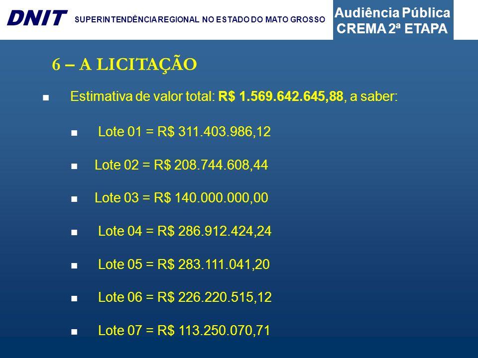 Audiência Pública CREMA 2ª ETAPA DNIT SUPERINTENDÊNCIA REGIONAL NO ESTADO DO MATO GROSSO 6 – A LICITAÇÃO Estimativa de valor total: R$ 1.569.642.645,8