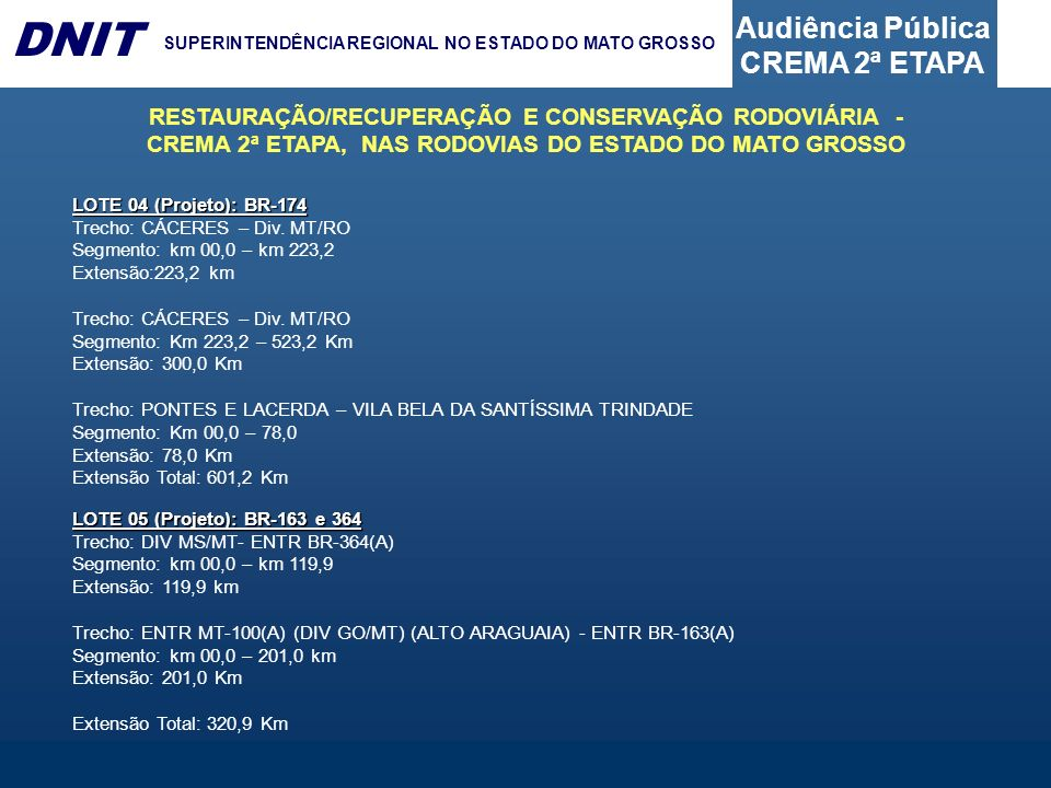 Audiência Pública CREMA 2ª ETAPA DNIT SUPERINTENDÊNCIA REGIONAL NO ESTADO DO MATO GROSSO LOTE 04 (Projeto): BR-174 Trecho: CÁCERES – Div. MT/RO Segmen