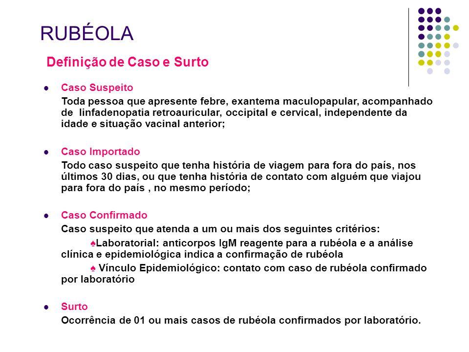 RUBÉOLA Definição de Caso e Surto Caso Suspeito Toda pessoa que apresente febre, exantema maculopapular, acompanhado de linfadenopatia retroauricular,