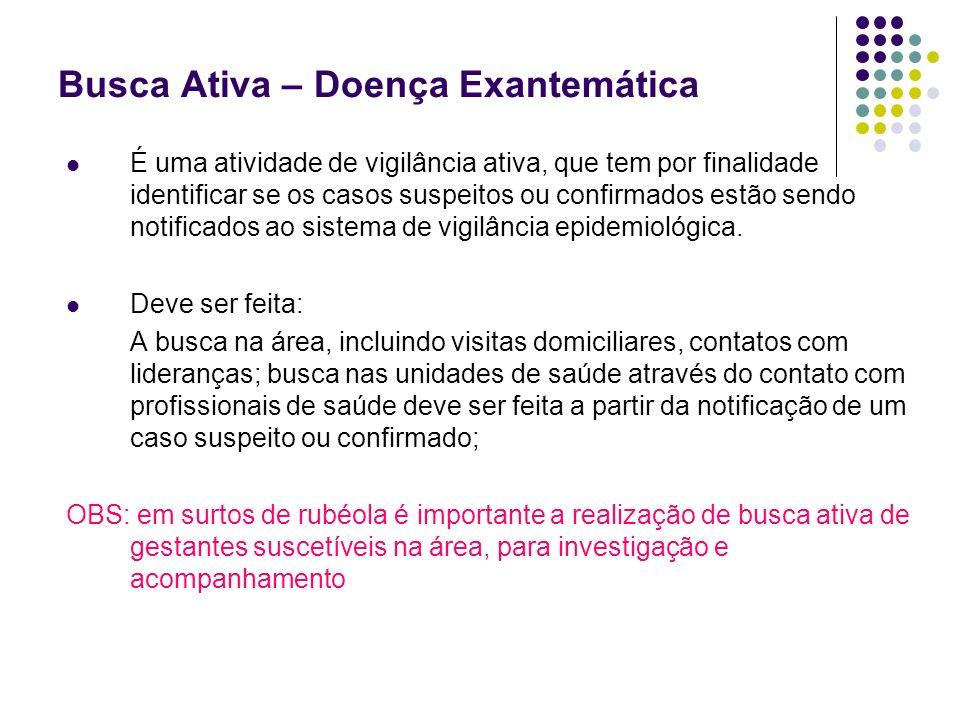 Busca Ativa – Doença Exantemática É uma atividade de vigilância ativa, que tem por finalidade identificar se os casos suspeitos ou confirmados estão sendo notificados ao sistema de vigilância epidemiológica.