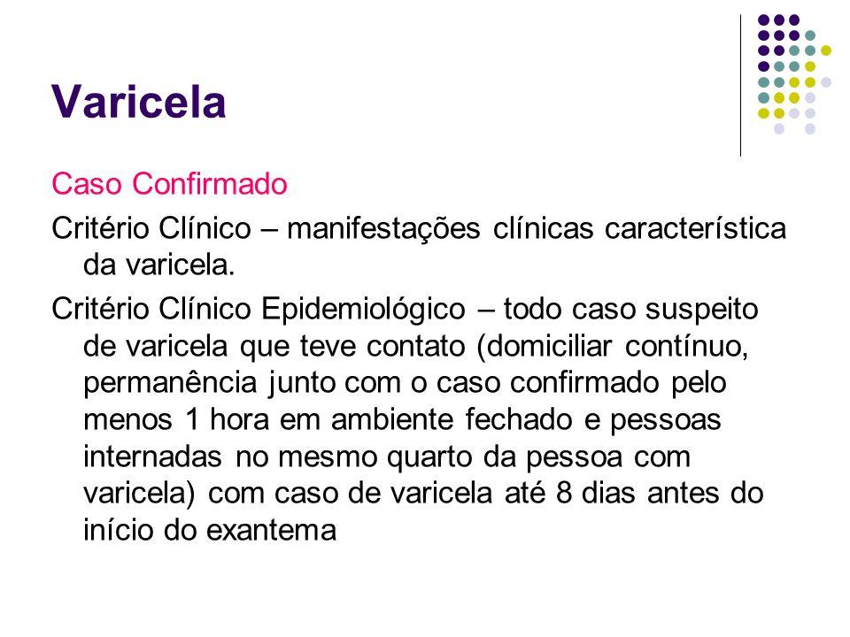 Varicela Caso Confirmado Critério Clínico – manifestações clínicas característica da varicela. Critério Clínico Epidemiológico – todo caso suspeito de