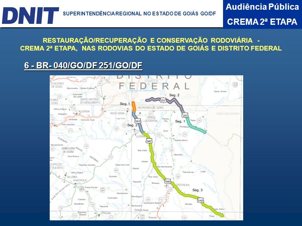 Audiência Pública CREMA 2ª ETAPA DNIT SUPERINTENDÊNCIA REGIONAL NO ESTADO DA BAHIA 6 - BR- 040/GO/DF 251/GO/DF RESTAURAÇÃO/RECUPERAÇÃO E CONSERVAÇÃO R