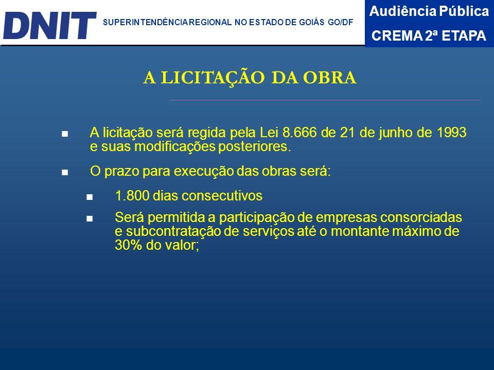 Audiência Pública CREMA 2ª ETAPA DNIT SUPERINTENDÊNCIA REGIONAL NO ESTADO DA BAHIA A LICITAÇÃO DA OBRA A licitação será regida pela Lei 8.666 de 21 de